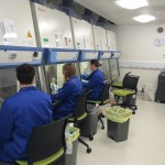 Blue coats in lab